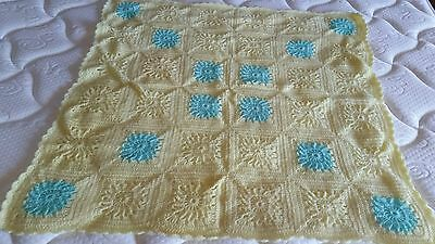 Hand made knitted baby blanket nanny lap throw