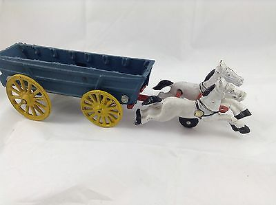 Cast Iron Horse And Waggon Child's Toy Antique Original Paint, Early Western