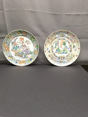 Magnificent Pair Of Chinese Antique Porcelain Families Rose Plates