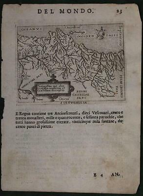 Portugal 1598 Ortelius & Marchetti Unusual Antique Engraved Map Italian Edition
