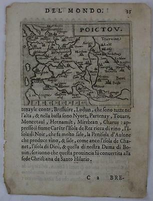 Poitou France 1598 Ortelius & Marchetti Unusual Antique Map Italian Edition