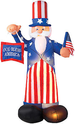 July 4Th Uncle Sam American Flag God Bless Airblown Inflatable Yard Decor