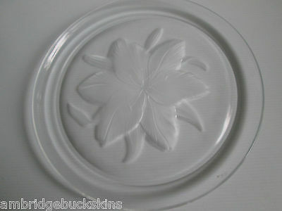 Large Crystal Plate Etched Flower Glass 32cms Heavy Floral Serving Display