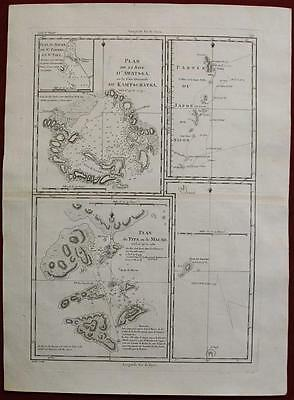 Macau Hong Kong China Japan Kamchatka Russia 1788 Bonne Antique Engraved Map