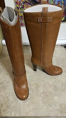Ralph Lauren Caramel Brown Mid Calf High Heel Riding Boots Women's Size 9.5 New!