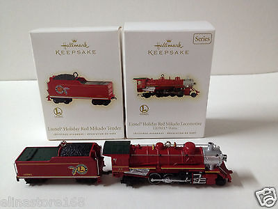 Hallmark Keepsake Lionel Holiday Red Mikado Locomotive Train & Tender Ornaments
