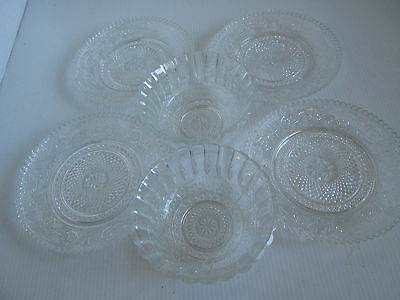 Stunning Cut Glass Pattern Clear Nibbles Bowl x 2 Cake Plate x 4