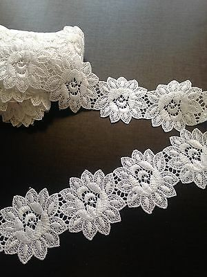White Guipure Lace Flower Pattern - 50mm wide - sold by the metre - Sewing/Craft