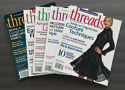 Lot of 5 THREADS MAGAZINE 2013 Back Issues Sewing Embroidery