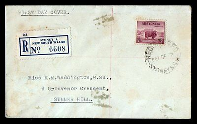 AUSTRALIA 1938 NSW REGISTERED FIRST DAY COVER TIED BY 5d PURPLE MERINO - USED