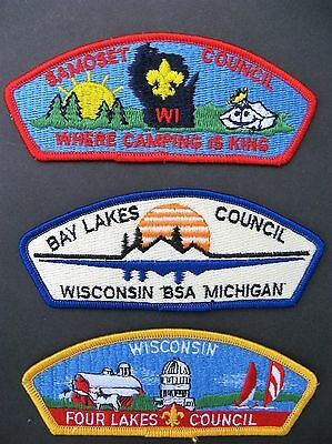 Boy Scouts Of America 3  Bsa Csp Council Shoulder Patches Wisconsin Michigan