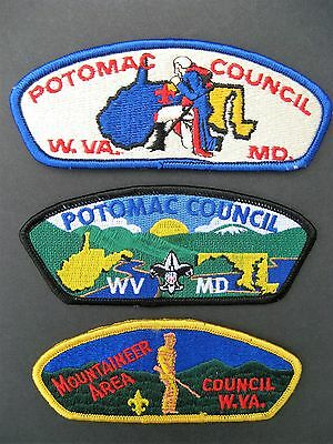 Boy Scouts Of America 3  Bsa Csp Council Shoulder Patches Maryland West Virginia