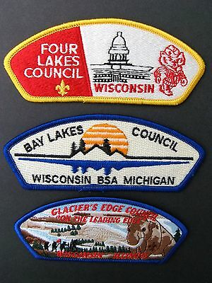 Boy Scouts Of America 3  Bsa Csp Council Shoulder Patches Wisconcin Lot 2