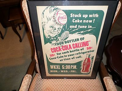 1950's Cardboard Sprite Boy Advertising For A Radio Station. Frame Is New.