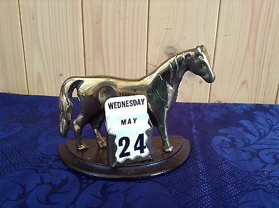 Vintage Brass Perpetual Calendar With Horse Image