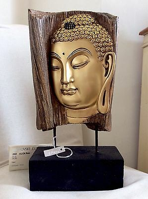 Very Large Beautifully Detailed Buddhas Head  Statue Adorned In JET Swarovski's