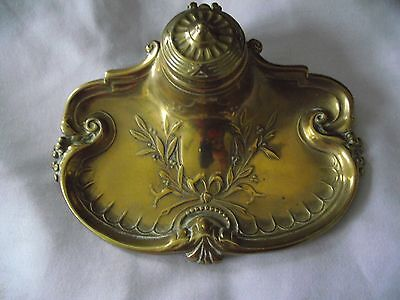 Art Nouveau (style) Brass Inkwell