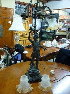 Vintage European style figural bronze lamp with 3 glass shades 20th century orig