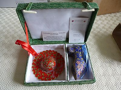 Qvc - Cloisonne Of Oriental Treasures - Miniature Hat & Shoe Set