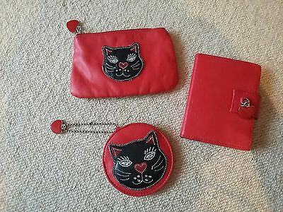 Red With Black Cat Gift Set Including Coin Purse/ Compact Mirror/ Mini Notebook
