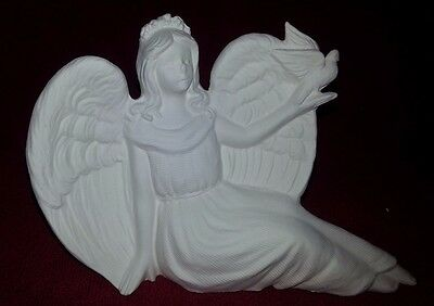 Ceramic Bisque Angel with Dove, 190mm approx. Ready to Paint or Glaze.