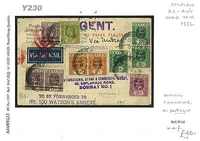 dbY230 1932 CEYLON WAR TAX Franking Cancelled FFC Airmail Forwarded Bombay