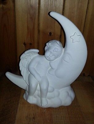 "Ceramic Bisque Cherub Moon. 11.25""/290mm approx. To Paint or glaze"