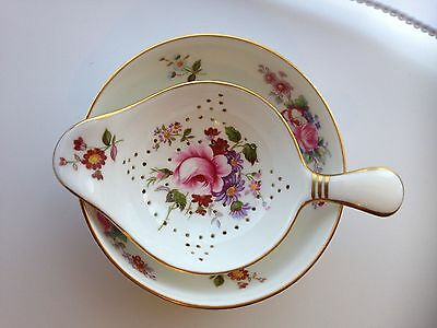 Royal Crown Derby Posies Tea Strainer and Drip Bowl, Excellent Condition