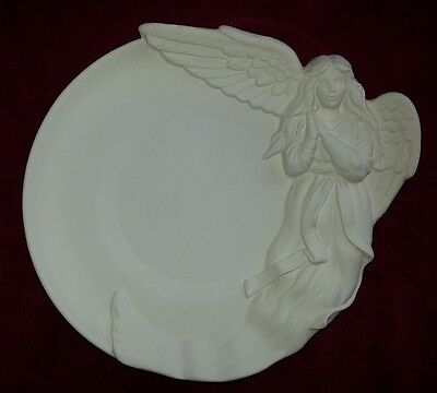 "Ceramic Bisque Angel Plate/plaque 10.25""/260mm. Ready to paint or glaze"