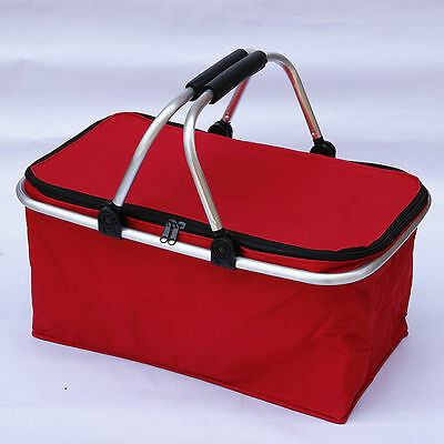 Red Portable Insulated Folding Picnic Basket / Cooler with Handles