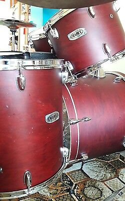 MAPEX 5 piece V Series Drum Kit in red with hardware and cymbals