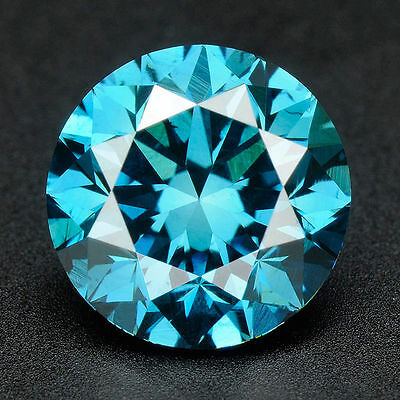 .092 cts. CERTIFIED Round Cut Vivid Blue Color SI Loose Real/Natural Diamond#t17