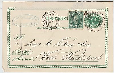 SWEDEN - 1893 used postcard sent to C Nielsen / Shipping Agents / Hartlepool