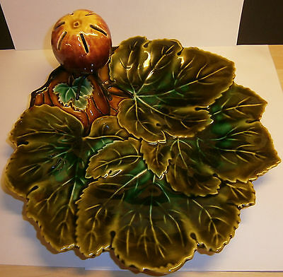 Antique Josef Steidi Znaim Majolica Green Leaf Dish