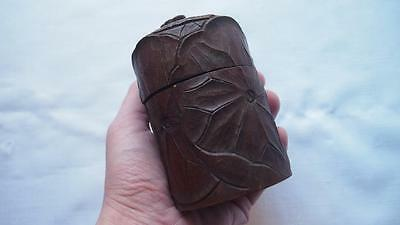 Antique Japanese Carved Wooden Container - Signed Underside