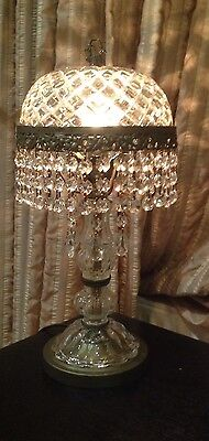 1950's French Dome Brass & Crystal Chandelier  Table Lamp