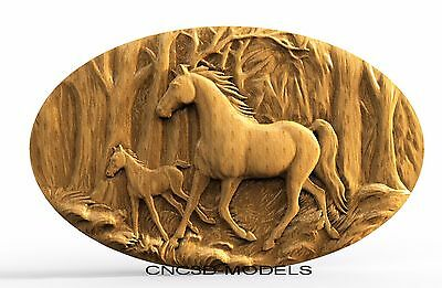 3D Model STL for CNC Router Engraver Carving Artcam Aspire Horse Animal 8255
