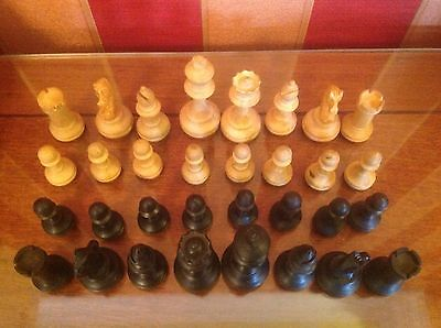 ANTIQUE VINTAGE BOXWOOD CHESS SET STAUNTON PATTERN K 70mm with box