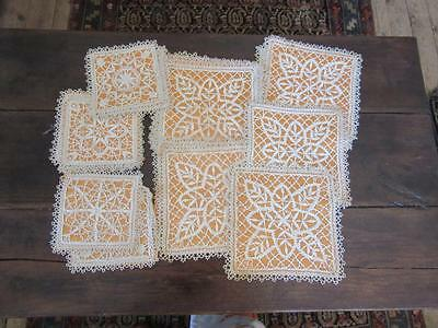A Set Of Gorgeous French Antique  Hand-Made Crochet Table Mats + Coasters