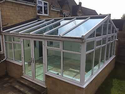 Free Delivery   Used Upvc Large White Conservatory with Self Cleaning Glass Roof