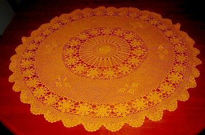 Vintage Crocheted Lace Tablecloth ~ Cotton ~ Orange ~ Round