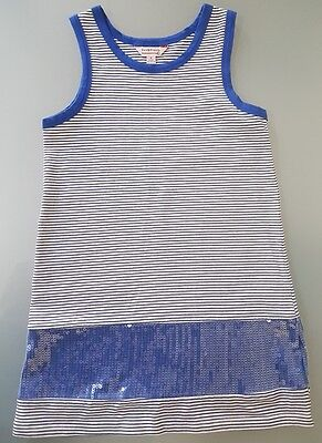 Fox & Finch girls blue & white stripe sequine sleeveless dress size 5