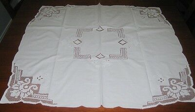Vintage Cotton & Filet Lace Supper Cloth ~ White ~ Square