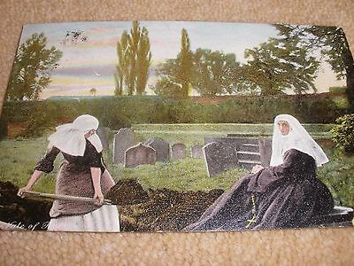 Vintage Postcard - Religious - Nuns Digging Graves