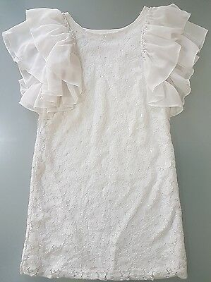 Wayne Junior floral angel wing shoulder, White lace dress size 10
