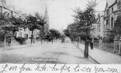 """""""SWANSEA, WALTERS Rd.""""  OLD POSTCARD to MUMBLES 1903"""