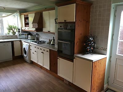 Complete set of cream / oak effect kitchen units, worktop, sink & hob