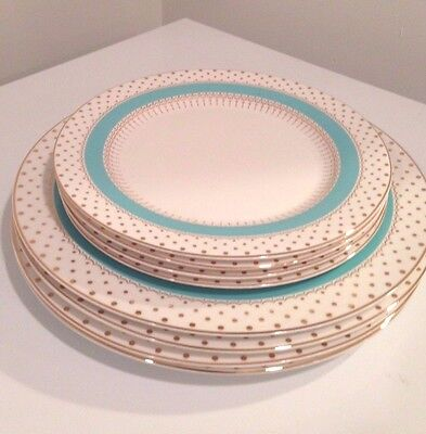 Grace's Teaware Blue with Gold Dots Dinner & Salad Plates Set of 8- New