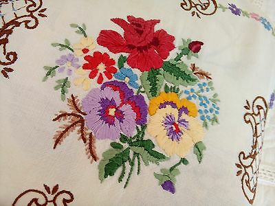 Vintage 2 Hand Embroidered Cushion Covers Roses Floral