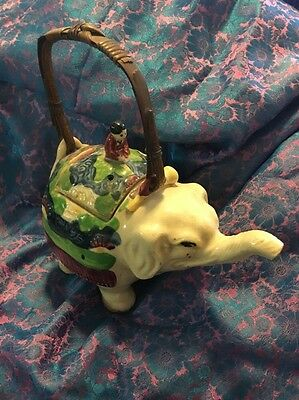 Antique Elephant & Rider Teapot Japan, Great condition
